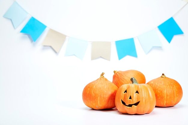 Happy halloween pumpkin on white Premium Photo
