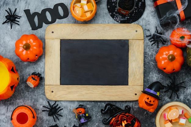 Столешница вид с воздуха изображение украшения happy halloween день фон Premium Фотографии