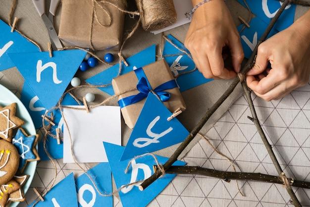 Плоская планировка с праздником хануки Бесплатные Фотографии
