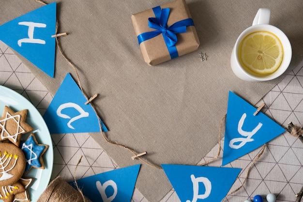 Счастливая традиционная праздничная гирлянда хануки Бесплатные Фотографии