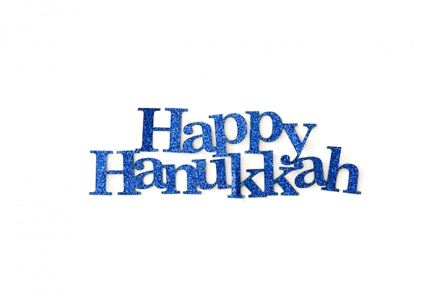 Happy hanukkah written with blue word isolated in white Premium Photo
