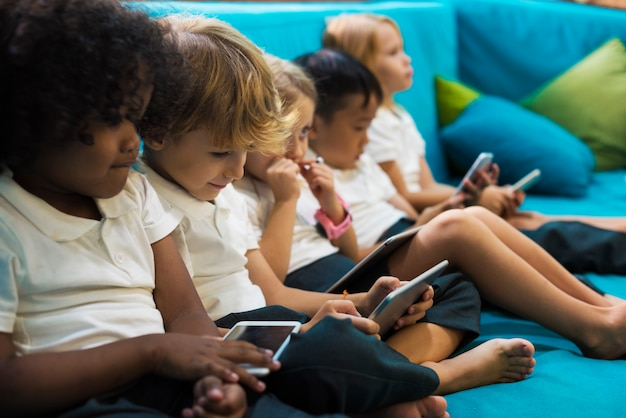 Happy kids at elementary school Premium Photo