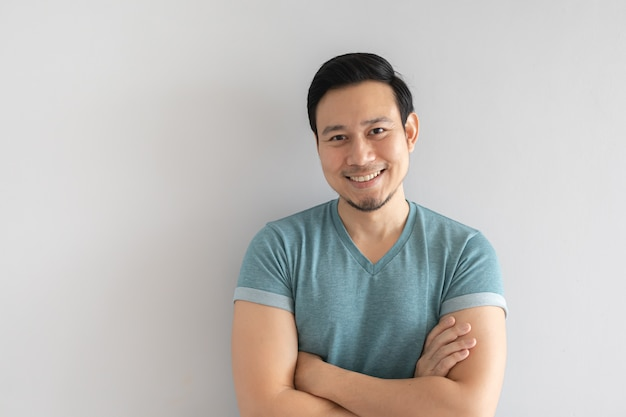 Happy man with clear and innocent smile face. Premium Photo