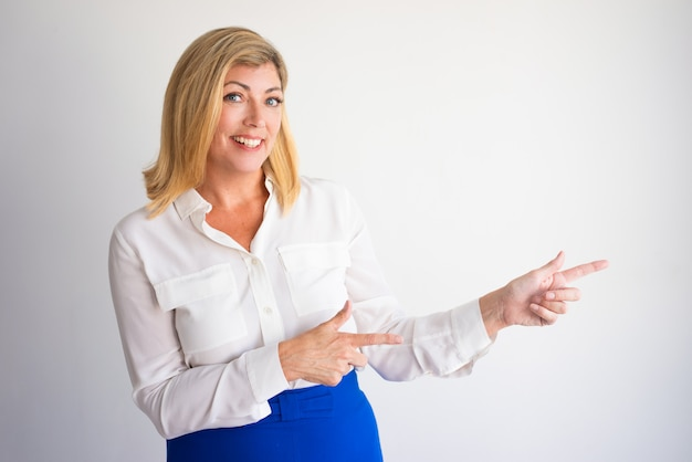 Mature Asian Business Woman Pointing Something Stock Photo