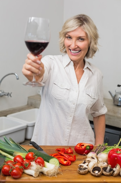 The incorrect women over 50 mature in kitchen