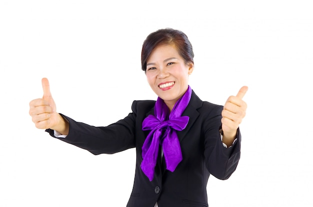 Happy middle aged  business woman with thumb up Premium Photo