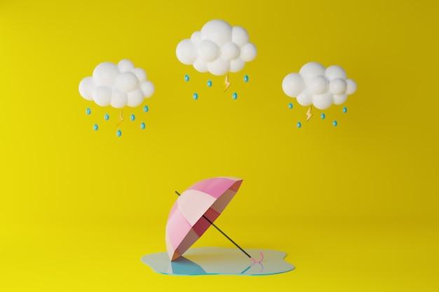 Happy monsoon season. cloud, umbrella and rainy on yellow. 3d rendering illustration. Premium Photo