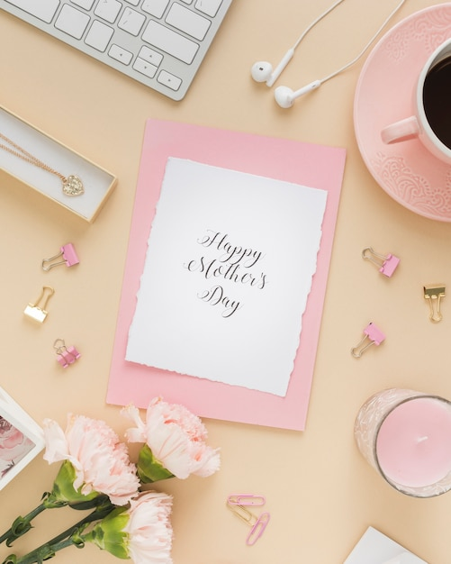 Happy mother's day card with candle Free Photo