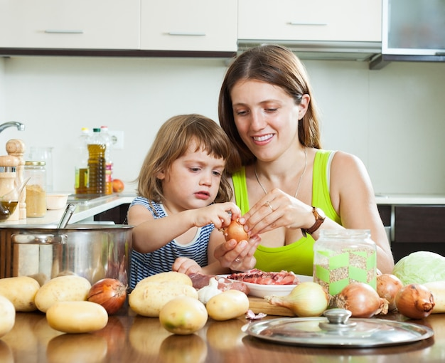Happy mother with daughter cooking Free Photo