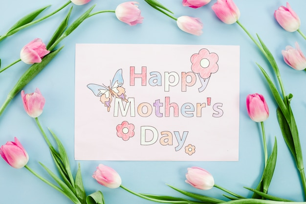 Happy mothers day drawing on paper with pink tulips Free Photo