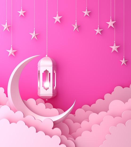 ランタンの三日月形の雲と幸せのムハラムイスラム装飾背景 Premium写真