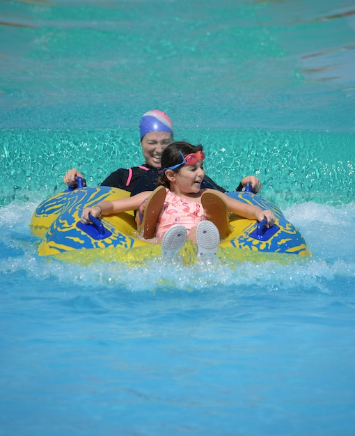 Happy muslim family, mother and daughter in swimming pool, summertime concept Premium Photo