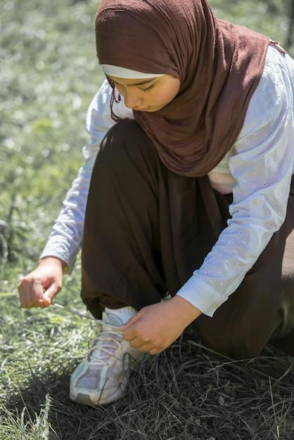 Happy muslim girl outdoor Premium Photo