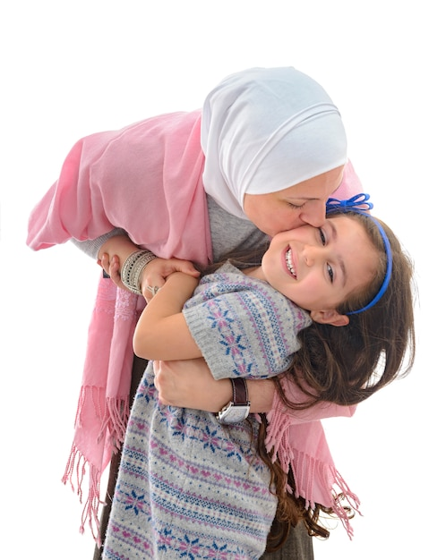Happy muslim woman and daughter Premium Photo