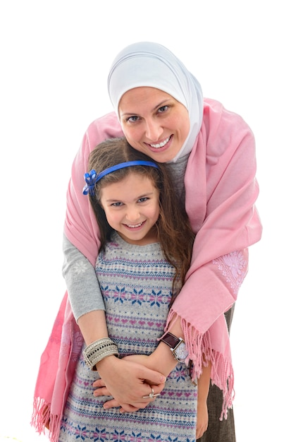 Happy muslim woman and girl Premium Photo