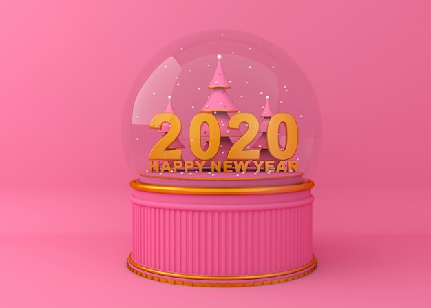Happy new year 2020 creative background 3d rendering illustration. Premium Photo