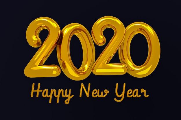 Happy new year 2020 creative design concept,greeting card Premium Photo