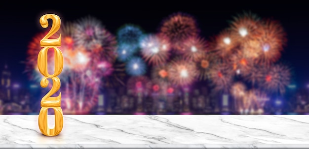 Happy new year 2020  fireworks over cityscape at night with empty white marble table Premium Photo