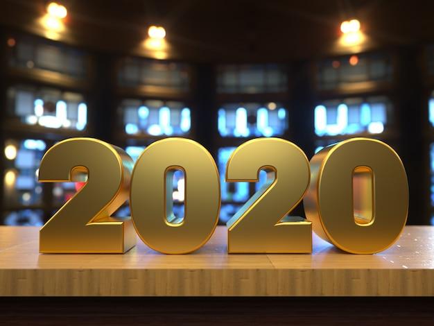С новым годом 2020 золотой текст за деревянным столом Premium Фотографии