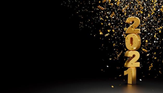 새해 복 많이 받으세요 2021 및 호일 색종이 검은 배경에 떨어지는 3d 렌더링 프리미엄 사진