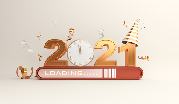 Happy new year 2021 decoration with loading progress bar, confetti, clock Premium Photo