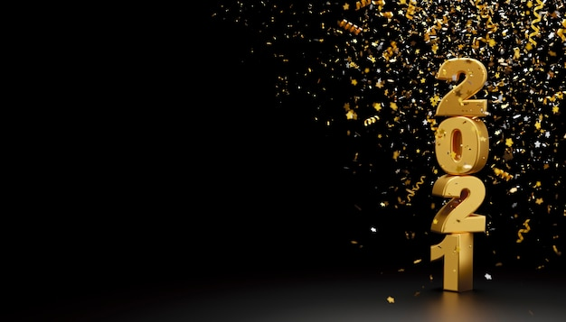 Happy new year 2021 and foil confetti falling on black background 3d render Premium Photo