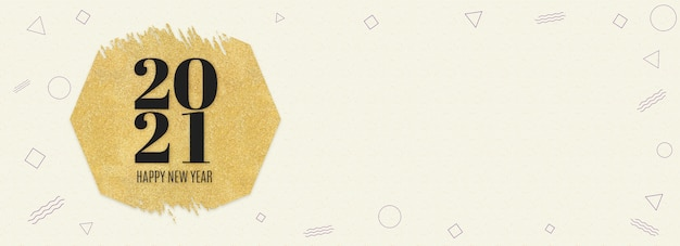 С новым годом 2021 слово на золотом шестиугольнике с блестками на кремовом рисунке современной геометрической формы Premium Фотографии