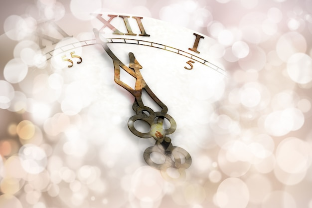 happy new year background with clock face free photo