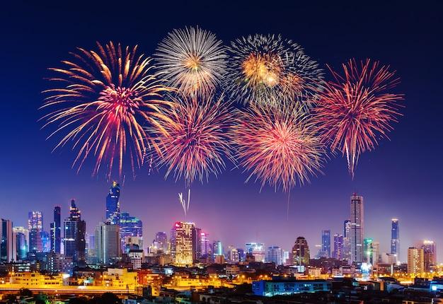 Happy new year firework with bandkok cityscape at night Premium Photo