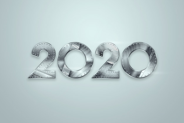 Happy new year, metallic numbers 2020 design on a light background. merry christmas Premium Photo