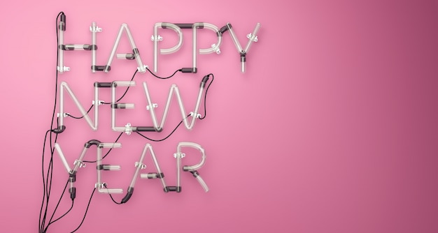 Happy New Year Neon Light Pink 3D Free Photo