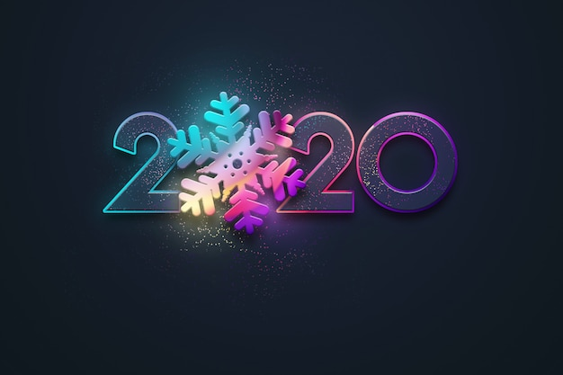 2020 Christmas Numbers Premium Photo | Happy new year, neon numbers 2020 design