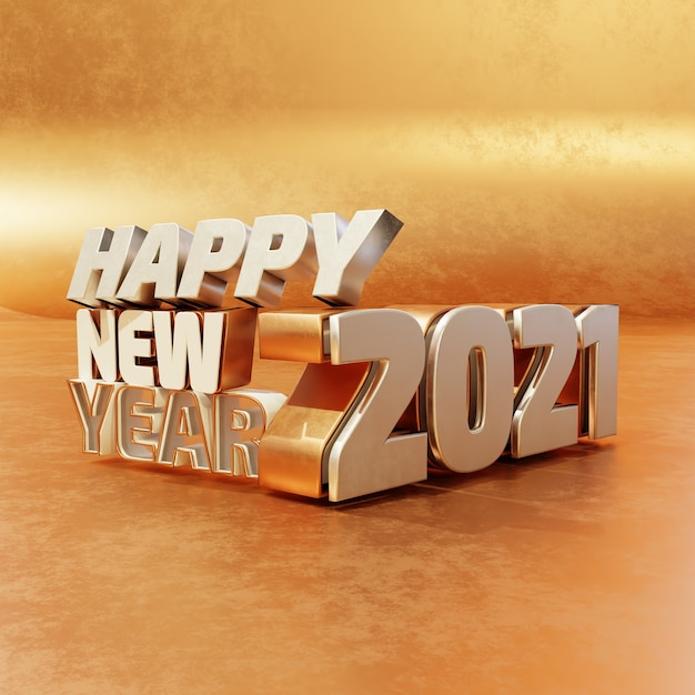 Happy new year silver golden bold letters high quality render isolated on wooden background Premium Photo