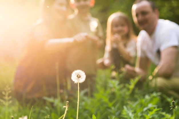 Happy parents with child in nature Free Photo