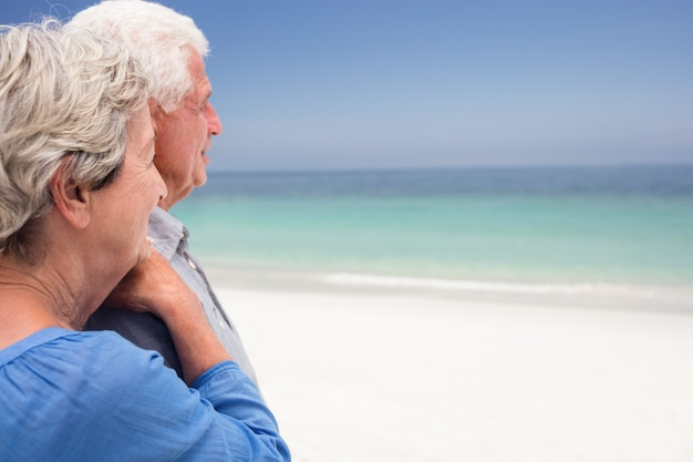 Happy senior couple looking at sea Premium Photo