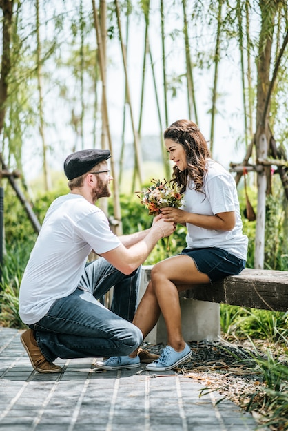 Happy smiling couple diversity in love moment together Free Photo