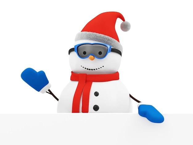 Счастливое приветствие снеговика с пустой доской Premium Фотографии