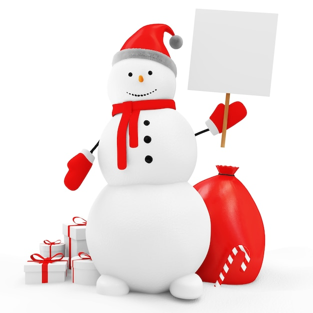 Счастливый снеговик с рождественскими аксессуарами Premium Фотографии