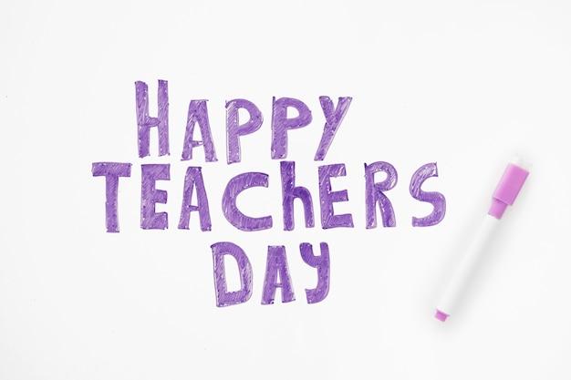 Счастливый день учителя надписи Premium Фотографии