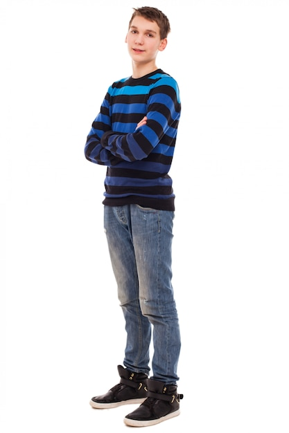Happy teenager boy in casual standing Free Photo