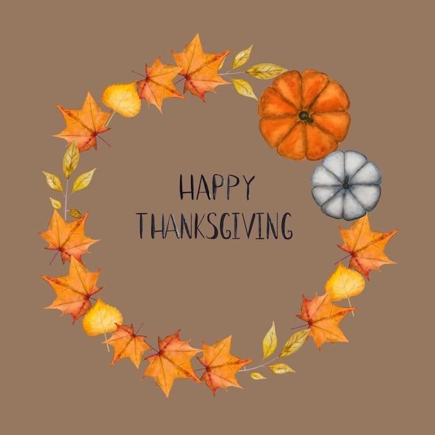 幸せな感謝祭。花輪の背景に刻まれた碑文 Premium写真
