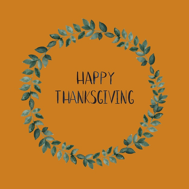 Happy thanksgiving wreath card Premium Photo