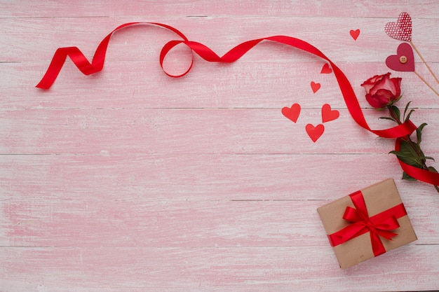 Happy valentines day love celebration in a rustic style isolated. Premium Photo
