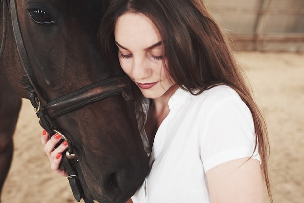 A happy woman communicates with her favorite horse. the woman loves animals and horseback riding Premium Photo