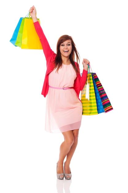 Счастливая женщина от успешных покупок Бесплатные Фотографии