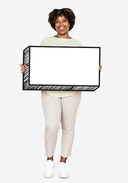 Happy woman holding an empty board Free Photo