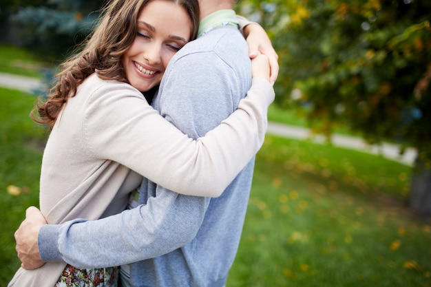 Happy Woman Hugging Her Boyfriend Photo  Free Download-9088