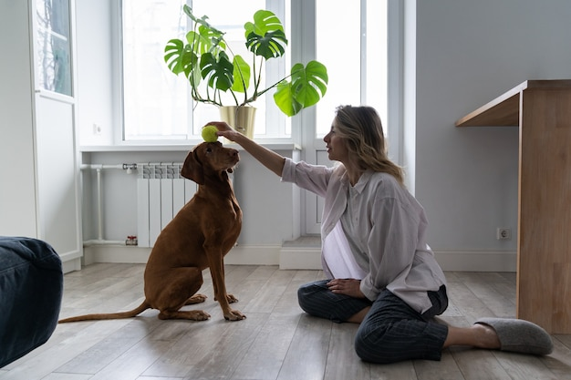 Happy woman owner with her vizsla dog playing with tennis ball at home, sitting on the floor Premium Photo