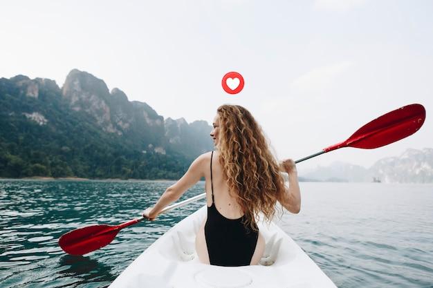 Happy woman on vacation Premium Photo