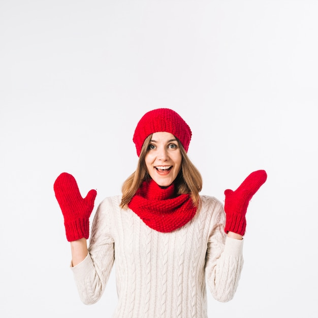 Happy woman in warm clothes Free Photo